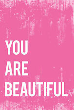 "Children's Wall Art Wrapped Canvas, You Are Beautiful 11x14"", Framed Quote Decor"