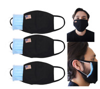America Flag Small U.S Flag  Face Mask - 3pcs w/ Filter Insert pocket reusable