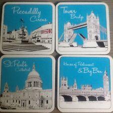 Coasters 4 London Sketch UK Icon St Pauls Big Ben Tower Bridge Parliament 9cm
