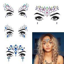 Body Adhesive Glitter Stickers Tattoo Face Gems Rhinestone Jewels Party Festival