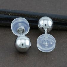 Genuine 18CT White Gold Ball Studs Earrings 5mm - 1 Pair