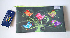 Helix Birds in a tree Textile PENCIL CASE LIME GREEN ZIP FLAT iléostomie Style Grey