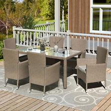 Outdoor Dining Set 7PCS Patio Dinning Table Beige-Brown Wicker Garden Furniture