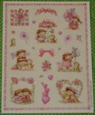 VINTAGE HALLMARK ADORABLE GIRLS~CATS~BUNNY~FLOWERS~HEARTS STICKERS SHEET