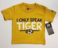 NCAA Missouri Mizzou Tigers Toddler T-Shirt Yellow 2T & 4T Short Sleeve NWT FAST