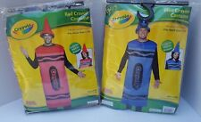 NEW Adult Blue Red Crayon Crayola Costume Body & Hat Men Women Unisex L XL