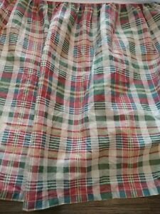 Chaps Ralph Lauren Plaid King Bedskirt Red Blue Tan Green Split Corner