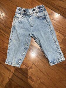 Vintage Little Levi's Denim Baby Toddler Blue Jeans Sz18M Orange Tab Made In USA