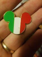 Country Flag Icon Disney Pin - Mickey Head & Ears (Disneyland Paris) Italy USED