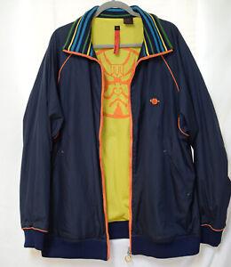 FAB Mens Massive Revolution Navy Windbreaker Jacket-Embroidered Phoenix Back-3X