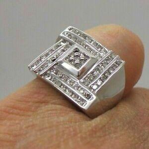 Men's Band 14K White Gold Engagement Wedding Modernist Square Ring 3.2Ct Diamond