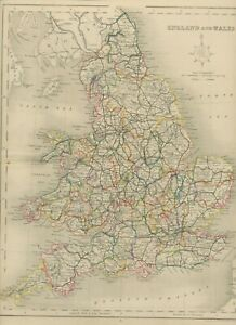 MAP 1850 ENGLAND AND WALES 35 cm x 27,5 cm - wonderful rare almost 175 years old