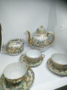 Vintage Japanese Shell Fine Bone China Teapot -Sugar bowl -3 Cup&Saucers