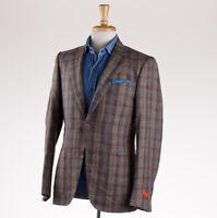 NWT $2995 ISAIA NAPOLI Olive Check Wool-Silk-Linen Sport Coat 38 R (Eu 48)