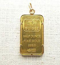 Suisse Half Ounce Fine Gold Bar 9999 in 18ct Gold Pendant Frame Preloved