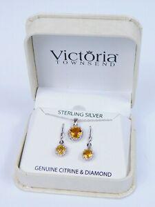 Victoria Townsend Citrine Diamond Sterling Silver 925 Necklace Earrings Set BNIB