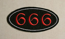 Embroidered 666 Patch on Black Felt - Sew or Iron On, Lucifer Satan Hell Devil
