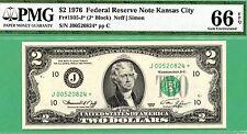 * KANSAS CITY STAR & 1 of 2 CONSECUTIVE * 1976 $2 FRN * PMG GEM 66 * Fr 1935-J*