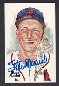 Stan Musial Autographed Perez Steele Art HOF Postcard #114 SGC Authentic