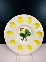 Hand Painted Rooster Deviled Egg Plate / Platter Made In USA Vintage