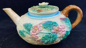 Antique Majolica Teapot Tea Pot Floral Basketweave Yellow Green Maker ? Brown