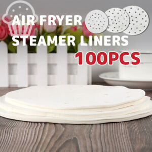 100Pcs Perforated Steamer Round Paper Air Fryer Liners Baking Non-stick Pad new