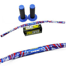 NEW TAPER FAT BAR HANDLEBARS DIRT BIKE 1 1/8'' + GRIPS CR CRF KX KXF YZ YZF