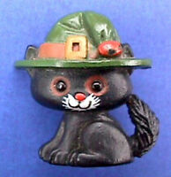 Hallmark PIN Halloween Vintage CAT BLACK WITCH HAT Holiday Brooch SCUFF