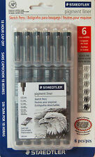Staedtler Pigment Liner Sketch Pens 6 pc set 0.05mm to 0.8mm Made in Germany