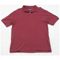 GH Bass & Co Red Man's Polo Shirt Top Short Sleeve Mens Size Medium 2-Button S2