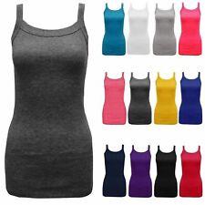 New Women Ladies Rib Vest Tops Plain Colors Camisole Stretch Stroppy Size 8-14