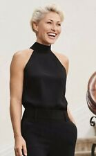 Next Emma Willis Black Tie back high neck Size 16 R Co Ord Crepe top New