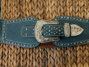 Montana West Size L 30-32 Studded Belt Thick Green Embellished Western...