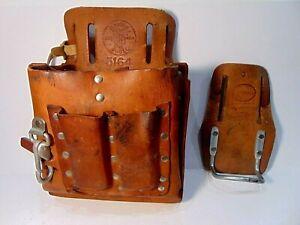 KLEIN 5164 heavy duty LEATHER TOOL CARRIER belt pouch bag & + HAMMER HOLDER USA