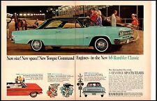 1965 Rambler Aqua Blue Harness racing Large Vintage Print Ad