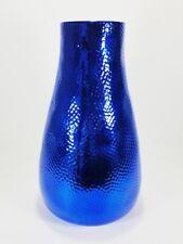 Blue Metallic Ceramic Vase Decorative Flowers H-10.75 in Vintage Design