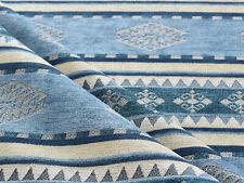 Ethnic fabric upholstery tapestry interior designer bohemian native blue textile