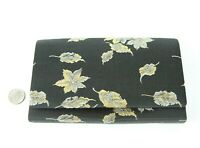 "Vintage Japanese Silk Purse Pouch Accordion Clutch Black Silver Gold Metallic 8"""