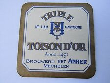 Beer Coaster: Brouwerij HET ANKER Triple Toison D'Or; Mechelen, BELGIUM Est 1491