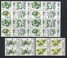 GB 1967 British Wild Flowers unmounted mint set as block of 4 sets stamps