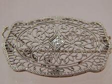Antique Vintage Diamond  Brooch Pin .12ct Euro Cut F/VS 14k WG Filigree Art Deco