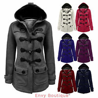 Ladies Womens Duffle Style Trench Hooded Pocket Toggle Coat Jacket Size 8-20