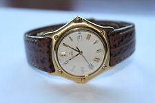 Ebel 1911 Yellow Gold Quartz White Roman Dial Strap Watch 887902