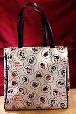 LULU GUINESS PVC TOTE BAG W/FACES, MAKEUP & SIGNATURE/RETIRED
