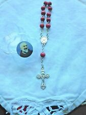 ST. PADRE PIO 1 Decade ROSE SCENTED ROSARY & Case *NEW* in pkg,