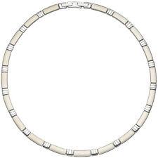 Collier Halskette Halsreif Edelstahl teil matt 47 cm Kette Damenschmuck