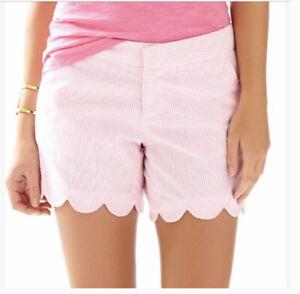 NEW Lilly Pulitzer Buttercup Shors Short Pink Fancy Seersucker Stripe White Sz 0