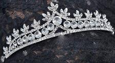 77b Dazzling Pageant or Bridal Silver Plated Crystal Crown Wedding Tiara