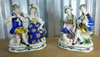 """Antique German Sitzendorf Porcelain Figurine Set, 7.5"""" H each."""