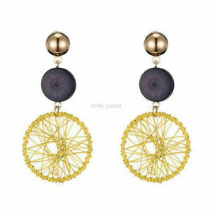 New Women Straw Rattan Woven Wooden Earrings Geometric Dangle Ear Stud Jewelry